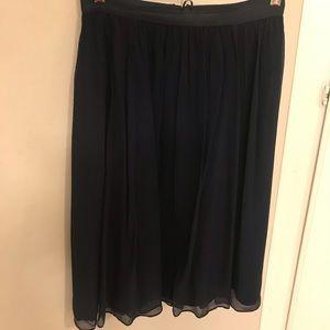 Navy Silk J.Crew Skirt